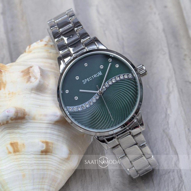 Silver Renk Çelik Kordonlu Yeşil Renk Zirkon Taşlı İç Tasarımlı Spectrum Marka Bayan Kol Saati ST-303343