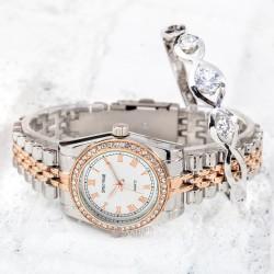 Silver Rose Renk Çelik Kordonlu Taşlı Kasa Bayan Saat ve Taşlı Bilekli...