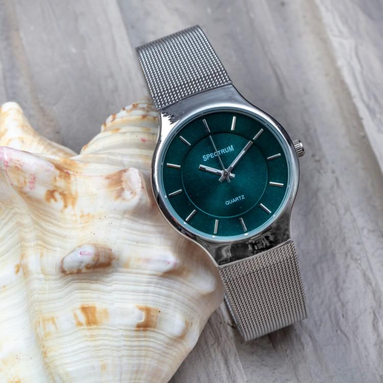 Silver Yeşil Trend Gümüş Renk Çelik Kasa Silver Hasır Kordonlu Spectrum Marka Bayan Kol Saati