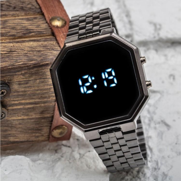 Siyah Renk Çelik Kordonlu Sekizgen Kasa Spectrum! Dijital Le...