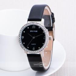 Siyah Renk Deri Kordonlu Taşlı Tasarımlı Spectrum Marka Bayan Kol Saat...