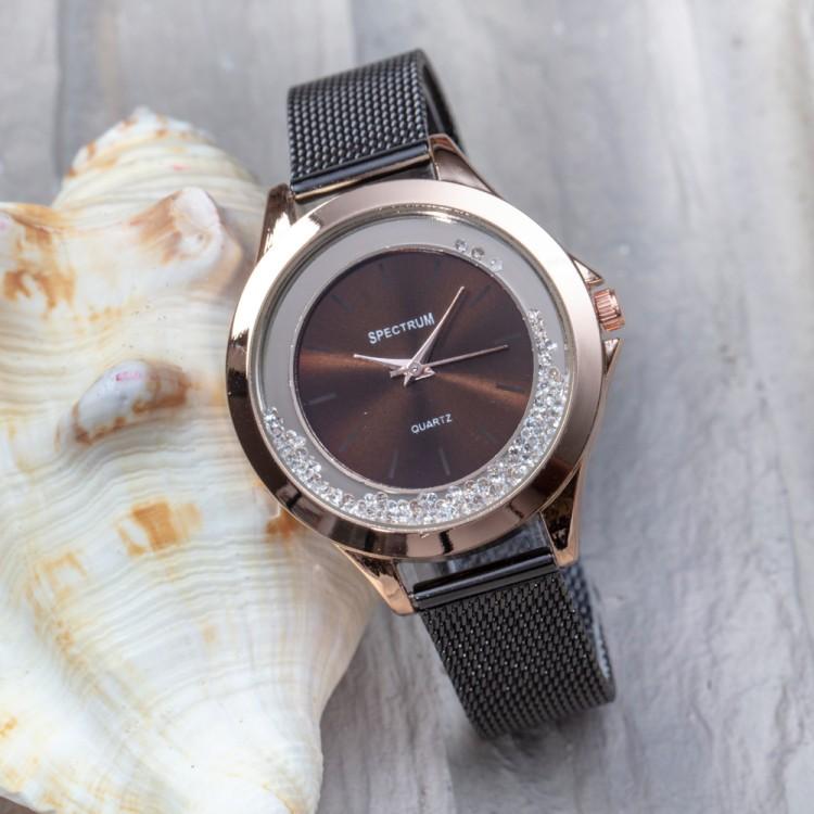 Siyah Renk Hasır Kordonlu Zirkon Taşlı İç Tasarımlı Spectrum Marka Bayan Kol Saati