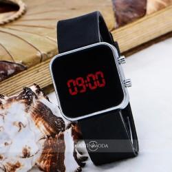 Siyah Silikon Kordonlu Mini Gümüş Renk Çelik Kasa Unisex Model Dijital...