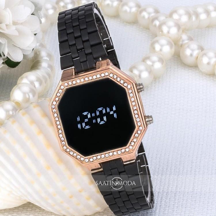 Siyah Zirkon Taşlı Tasarımlı Kasa Çelik Kordonlu Bayan Kol Saati ST-303524
