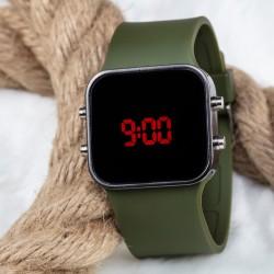Spectrum Marka Yeşil Silikon Kordonlu Led Bayan Unisex Kol Saati...