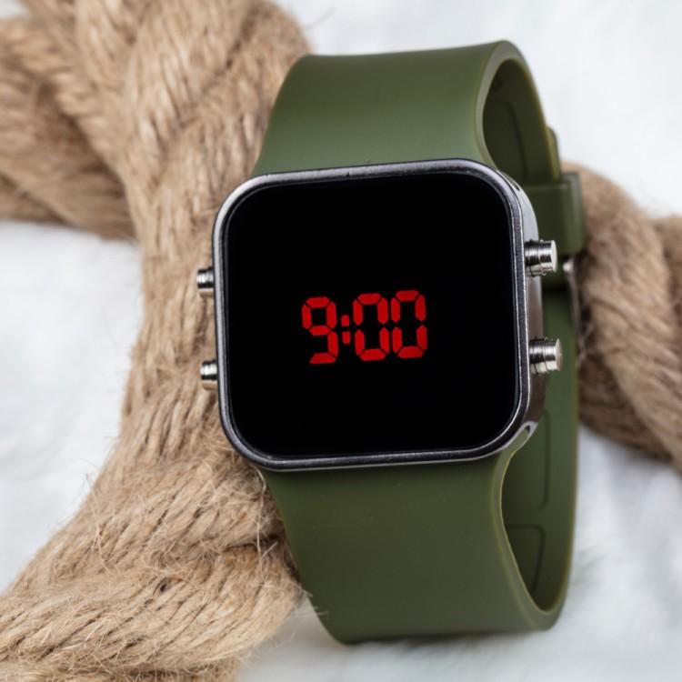 Spectrum Marka Yeşil Silikon Kordonlu Led Bayan Unisex Kol Saati