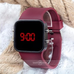 Spectrumwatch Smooth & Bordeaux Led Dijital Bordo Kol Saat Bilekli...