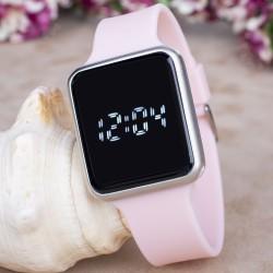 Toz Pembe Silikon Kordonlu Dokunmatik Led Ekran Dijital Kol Saat...