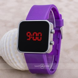 Yeni Watch Led Mini Purple Genç Kız Unisex Mor Silikon Kordon Saat ST-...